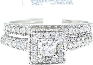 Jewelry Unlimited 10k,White,Gold,Princess,Cut,Engagement,Bridal,Solitaire,Halo,Band,Diamond,Ring