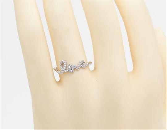 Other Ladies Sterling Silver White Gold Finish Diamond Promise Love Heart Fashion Ring