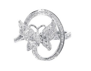 Ladies White Gold Finish Swirl Diamond Fashion Butterfly Fashion Ring 13 Ct