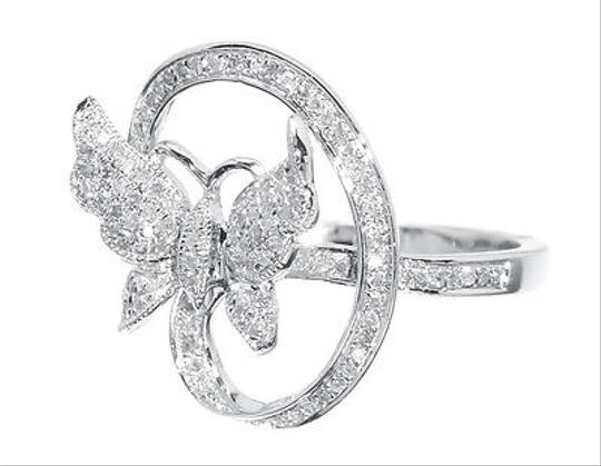 Other Ladies White Gold Finish Swirl Diamond Fashion Butterfly Fashion Ring 13 Ct
