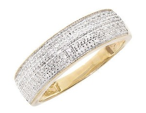 10k Yellow Gold Mens Pave Round Genuine Diamond 6.5mm Milgrain Band Ring 0.50ct