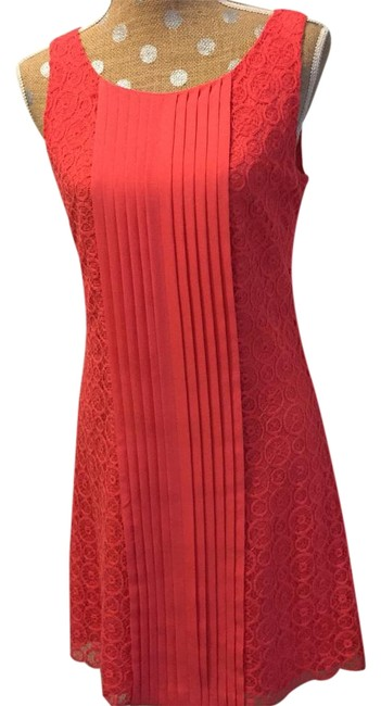 Item - Tangerine Sleeveless Lace Above Knee Night Out Dress Size 6 (S)