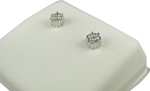 Mens,Ladies,White,Gold,5,Mm,Genuine,Diamond,Cluster,Stud,Earrings