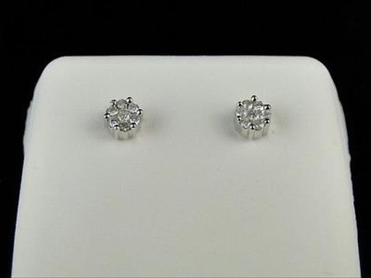 Other Mens,Ladies,White,Gold,5,Mm,Genuine,Diamond,Cluster,Stud,Earrings