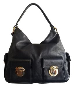 Marc Jacobs Hardware Leather Satchel in Black
