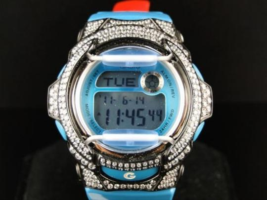 Casio Ladies G-shock Baby G Ladies Cyan Simulated Diamond Watch