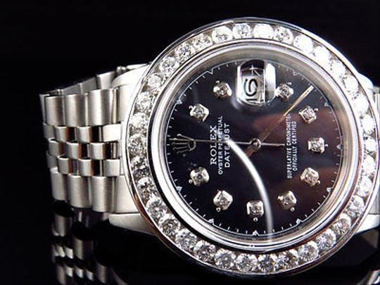 Rolex Mens Rolex Datejust Oyster Stainless Steel Channel Set Diamond Watch With Ct