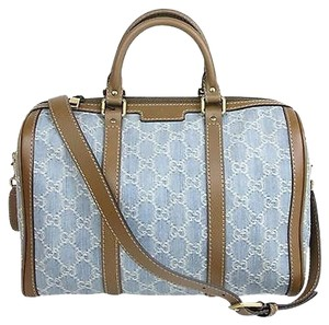 Gucci Gg Denim Joy Boston Satchel in Blue