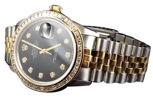 Rolex Mens Rolex Datejust Oyster 18k Stainless Steel Princess Cut Diamond Watch Ct