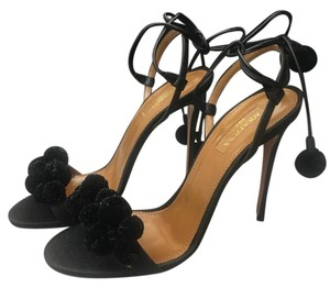 Aquazzura Open Toe Sandal Ankle Strap Pom Pom Black Pumps