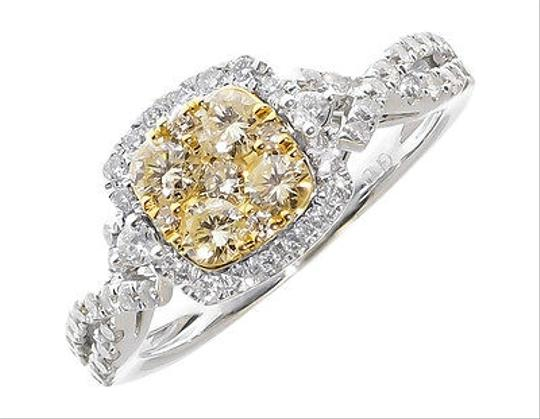 Preload https://img-static.tradesy.com/item/1879143/14k-white-gold-ladies-yellow-white-cluster-diamond-engagement-fashion-ring-1-ct-0-0-540-540.jpg