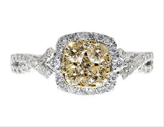 Other 14k White Gold Ladies Yellow White Cluster Diamond Engagement Fashion Ring 1 Ct