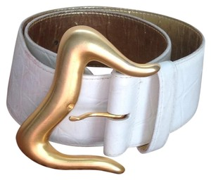 Anne Klein for Calderon White Belt with Gold Buckle