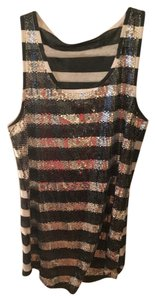 Silence + Noise V-neck Striped Sequined Tunic Top Black and White