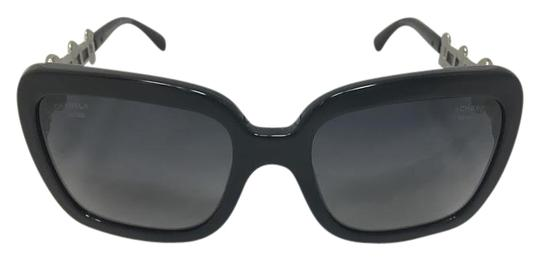 d51a651019 Chanel Black Square Eyed Polarized Pearl Sunglasses - Tradesy