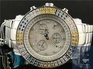 Other Mens Joe Rodeo Junior Jju17 Vs 4.3ct Mop Dial Row Bezel Colored Diamond Watch