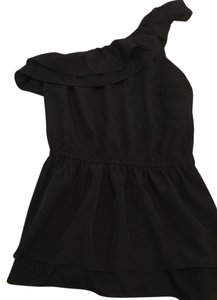 Forever 21 Silk Asymmetrical Ruffle Top Black