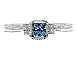 Other 10k White Gold Ladies Round Blue Diamond Cluster Engagement Fashion Ring 0.15ct