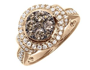 Other 14k Rose Gold Ladies Brown White Diamond Halo Engagement Fashion Ring 1 Ct