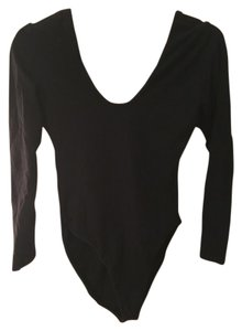 American Apparel Bodycon Bodysuit Leotard Top Black