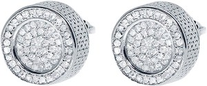 Jewelry Unlimited 10mm,Mens,Ladies,White,Gold,Finish,3d,Round,Diamond,Pave,Studs,Earrings,13,Ct