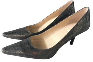 Calvin Klein Leather Snakeskin Grey Metallic Pumps