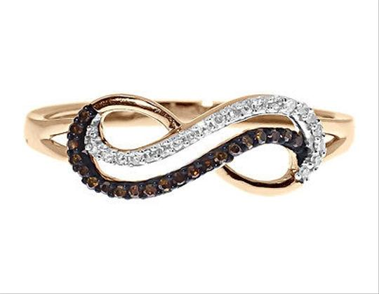 Other 10k Rose Gold Ladies Red White Diamond Looping Infinity Fashion Band Ring 110ct