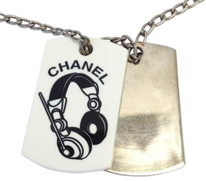 Chanel #8245 CC silver & white pendants silver hardware necklace