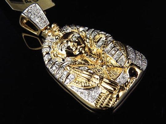 Other Yellow Gold Finish Egyptian Pharaoh King Tut Genuine Diamond Pendant Mini 1 Inch