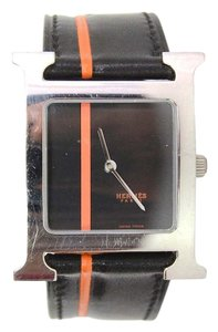 Hermès Hermes Black and Orange H Hour MM Watch