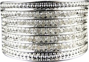 Other 14k,White,Gold,Finish,Ladies,Round,Cut,Xl,White,Diamond,Fashion,Band,Ring,.41ct