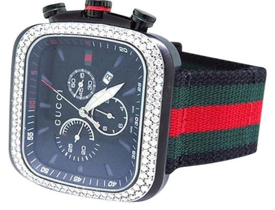 Gucci Mens Black Gucci Coupe Red Green Flag Band Diamond Sports Watch 3.25ct Ya131202