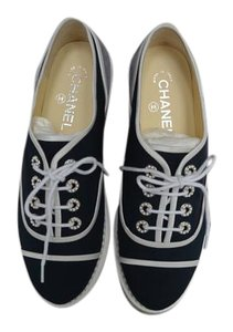 Chanel Espadrilles Lace Up Navy 39.5 Navy/Grey Flats