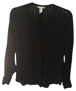 H&M Lace Panel Sleeve Top Black