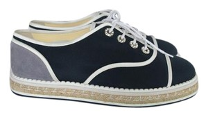Chanel Espadrilles Lace Up Navy/Grey Flats