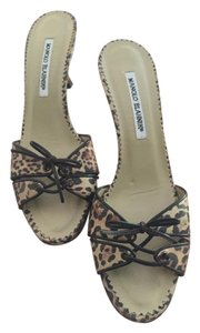 Manolo Blahnik leopard taupe, tan and chocolate Sandals