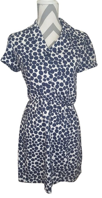 Item - White/Navy 50s Polka Dot Button Up Mid-length Short Casual Dress Size Petite 4 (S)