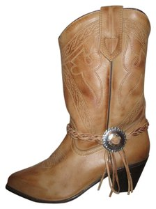 Oak Tree Farms Western Leather Fringed tan Boots