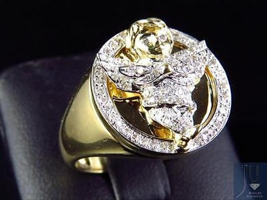 Other Mens 10k Yellow Gold Genuine Diamond 3d Angel Fashion Pinky Ring 0.60ct 22mm Image 1