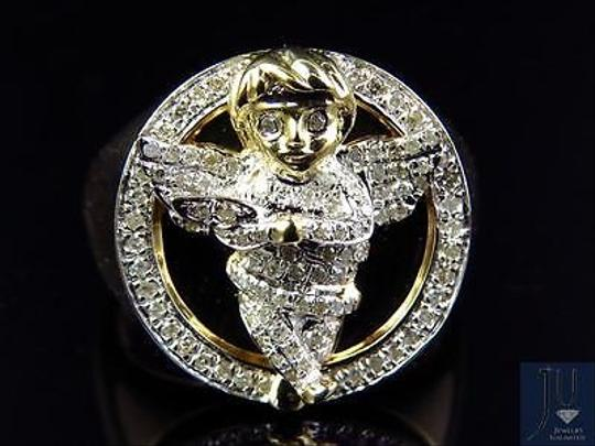 Other Mens 10k Yellow Gold Genuine Diamond 3d Angel Fashion Pinky Ring 0.60ct 22mm Image 3