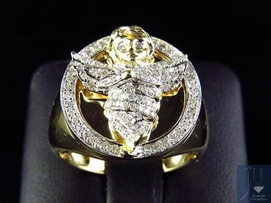 Other Mens 10k Yellow Gold Genuine Diamond 3d Angel Fashion Pinky Ring 0.60ct 22mm Image 4