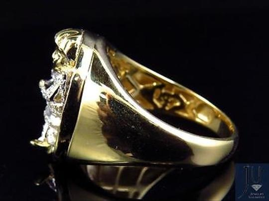 Other Mens 10k Yellow Gold Genuine Diamond 3d Angel Fashion Pinky Ring 0.60ct 22mm Image 6
