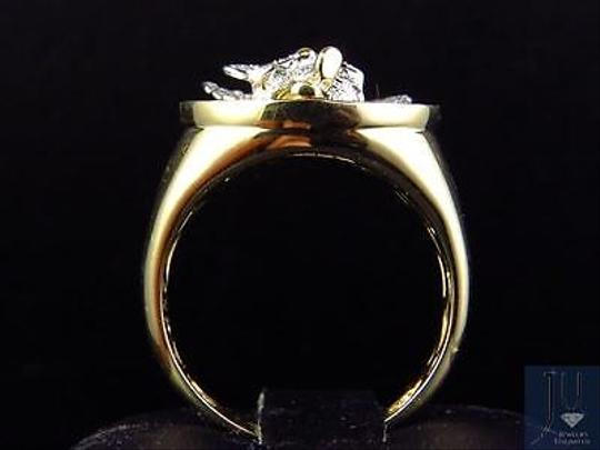 Other Mens 10k Yellow Gold Genuine Diamond 3d Angel Fashion Pinky Ring 0.60ct 22mm Image 7