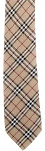 Burberry Taupe, black, burgundy Burberry Nova check silk tie