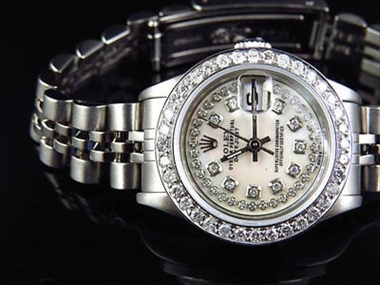 Other Ladies Rolex Datejust Jubilee Band Mm Diamond Watch With White Mother Pearl