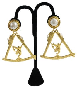 Karl Lagerfeld Earrings Large Faux Pearl Gold Scale Cherub