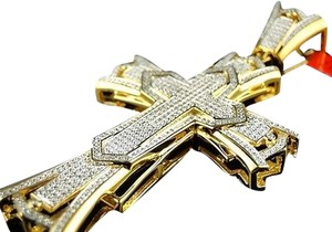 Mens,Yellow,Gold,Finish,Xl,3,Inch,Diamond,Cross,Pendant,1.0,Ct
