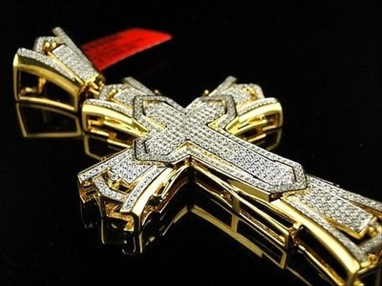 Other Mens,Yellow,Gold,Finish,Xl,3,Inch,Diamond,Cross,Pendant,1.0,Ct
