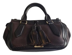 Burberry Timeless Leather Satchel in Black
