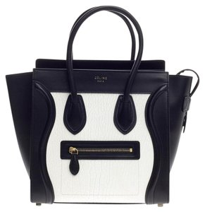 Céline Celine Leather Tote in Black and White